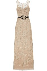 Mikael Aghal Lace Appliqued Tulle Gown Nude
