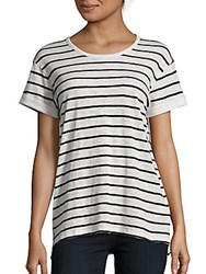 Vince Heathered Striped Tee Black Off White