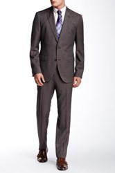 Hugo Boss Two Button Notch Lapel Wool Suit Brown