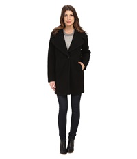 Calvin Klein Wool One Button Boyfriend Coat Black Boucle Women's Coat Gray