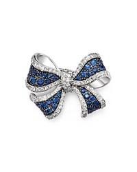 Bloomingdale's Diamond And Sapphire Bow Pin In 14K White Gold White Blue