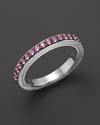 Judith Ripka Sterling Silver Pave Band Ring With Pink Sapphire No Color