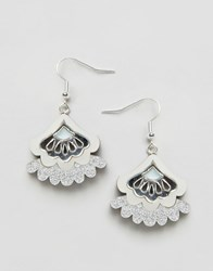 Wolf And Moon Bloom Statement Earrings Blue