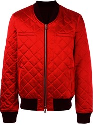 Balmain Quilted Logo Patch Jacket Red