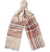 Loro Piana Checked Cashmere And Silk Blend Scarf Beige