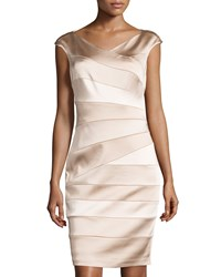 Jax V Neck Banded Satin Sheath Dress Putty Shell