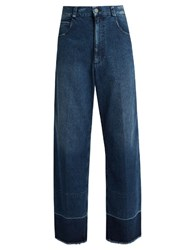 Rachel Comey Legion Frayed Edge Wide Leg Jeans Dark Blue