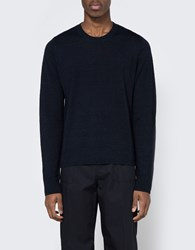 Maison Martin Margiela Elbow Patch Sweater In Dark Blue