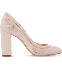 Dune Bethanee Embroidered Leather Courts Pale Pink Leather