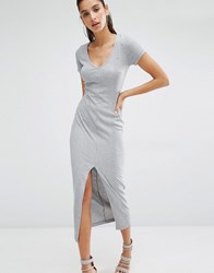 Parallel Lines V Neck T Shirt Maxi Dress In Soft Rib With Front Split Grey