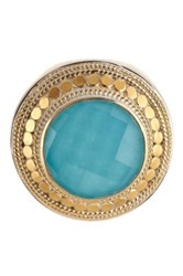 Anna Beck Two Tone Turquoise Cocktail Ring Size 7.5 Metallic