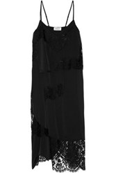 Dkny Lace Paneled Stretch Silk Satin Dress Black