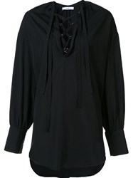 Tome Lace Up Detail Blouse Black