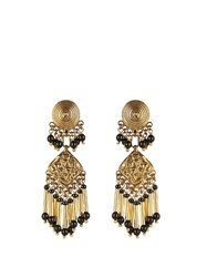Etro Embellished Medallion Earrings Black Gold