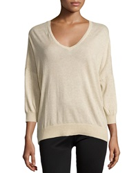 Minnie Rose Cotton V Neck Long Sleeve Sweater Sand