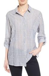 Women's Wit And Wisdom Roll Sleeve Stripe Shirt Nordstrom Exclusive
