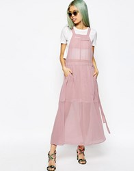 Asos Dungaree Maxi Dress Pink