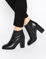 Daisy Street Square Toe Heeled Ankle Boots Black High Shine