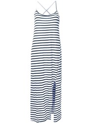 Bassike Striped Crossover Back Dress White