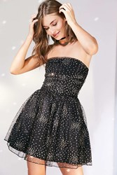 Motel Sisley Glitter Dot Strapless Mini Dress Black Multi