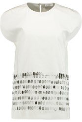 Vionnet Printed Silk Twill Top White