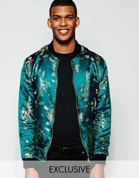 Reclaimed Vintage Brocade Bomber Jacket Blue