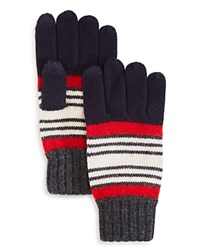 Bloomingdale's The Men's Store At Collegiate Stripe Gloves Red Ivory Navy