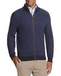 Brooks Brothers Cotton Cashmere Zip Cardigan Sweater Open Blue