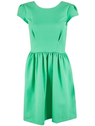 Almari Diamond Quilted V Back Dress Green