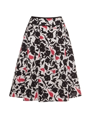 Yumi Tropical Bird Camouflage Print Skirt Black