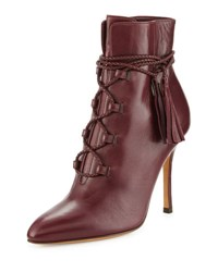 Valentino Leather Lace Up 100Mm Bootie Rubin