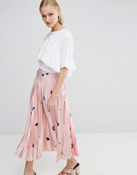 Asos Pleated Satin Midi Skirt In Minimal Print Multi