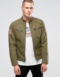 Denim And Supply Ralph Lauren Waxed Biker Jacket With Quilted Shoulders In Olive Olive Green