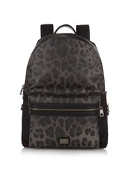 Dolce And Gabbana Leopard Print Leather And Nylon Backpack