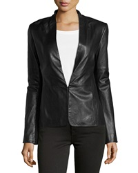 Halston Heritage Knit Panel Leather Blazer Black