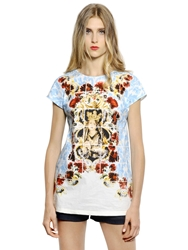 Dolce Gabbana Madonna Printed Cotton Poplin Top Light Blue