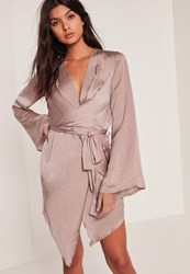 Missguided Pink Long Sleeve Kimono Wrap Dress Mauve