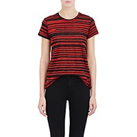 Proenza Schouler Women's Blurred Stripe T Shirt Burgundy Black Red Burgundy Black Red