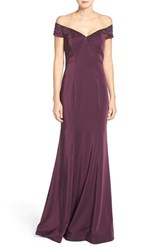 La Femme Women's Embellished Off The Shoulder Mermaid Gown Plum