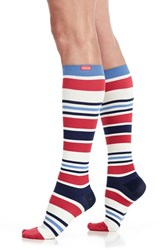Vim And Vigr Women's 'Fun Stripe' Graduated Compression Trouser Socks Red White