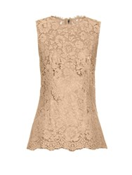 Dolce And Gabbana Corded Lace Sleeveless Top Beige