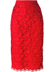 Piccione.Piccione Piccione. Piccione Floral Lace Embroidered Pencil Skirt