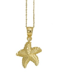 Lord And Taylor 14 Kt. Yellow Gold Starfish Pendant Necklace