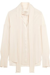Chloe Satin Trimmed Silk Crepe De Chine Blouse Cream