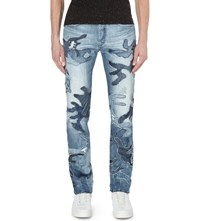 Diesel Buster Patchwork Slim Tapered Jeans Denim0853d