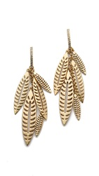 Rebecca Minkoff Safari Haze Leaf Chandelier Earrings Gold Crystal