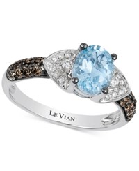 Le Vian Aquamarine 1 Ct. T.W. And Diamond 1 3 Ct. T.W. Ring In 14K White Gold Blue