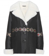 Alessandra Rich Shearling Lined Jacket Black