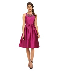 Adrianna Papell Sleeveless Mid Length Beaded Taffeta Party Dress W Mesh Yoke Berry Women's Dress Burgundy