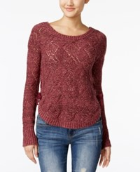 American Rag Lace Up Diamond Stitch Sweater Only At Macy's Zinfandel Combo